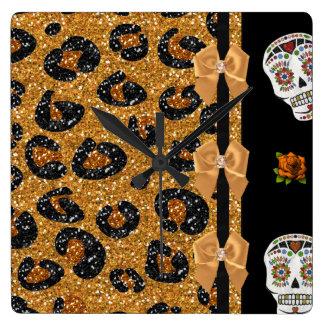 RAB Rockabilly Gold Leopard Print Sugar Skulls Square Wall Clock
