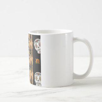 RAB Rockabilly Gold Leopard Print Sugar Skulls Coffee Mug