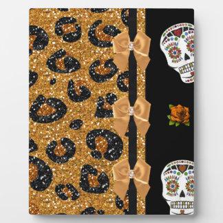 RAB Rockabilly Gold Leopard Print Sugar Skulls Display Plaques