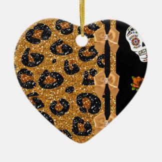 RAB Rockabilly Gold Leopard Print Sugar Skulls Double-Sided Heart Ceramic Christmas Ornament