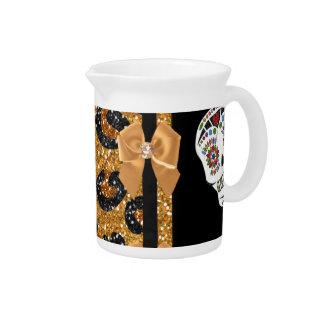 RAB Rockabilly Gold Leopard Print Sugar Skulls Drink Pitcher
