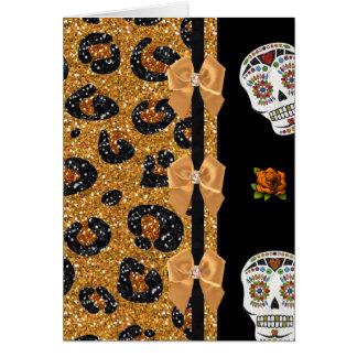 RAB Rockabilly Gold Leopard Print Sugar Skulls Greeting Card