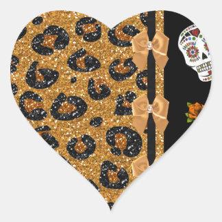 RAB Rockabilly Gold Leopard Print Sugar Skulls Heart Sticker