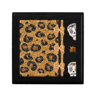 RAB Rockabilly Gold Leopard Print Sugar Skulls Keepsake Boxes