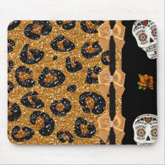 RAB Rockabilly Gold Leopard Print Sugar Skulls Mouse Pad