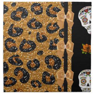 RAB Rockabilly Gold Leopard Print Sugar Skulls Cloth Napkin