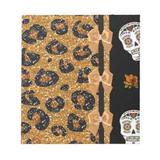 RAB Rockabilly Gold Leopard Print Sugar Skulls Notepads