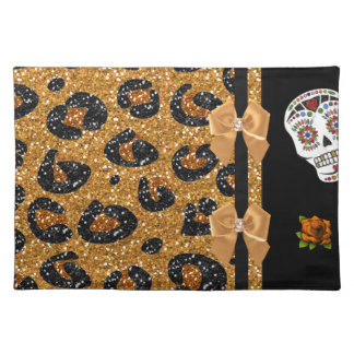 RAB Rockabilly Gold Leopard Print Sugar Skulls Cloth Place Mat