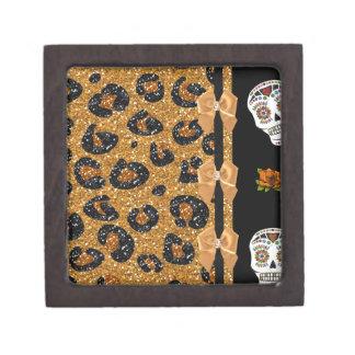 RAB Rockabilly Gold Leopard Print Sugar Skulls Premium Trinket Box