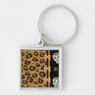 RAB Rockabilly Gold Leopard Print Sugar Skulls Silver-Colored Square Keychain