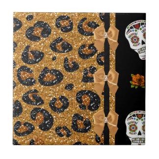 RAB Rockabilly Gold Leopard Print Sugar Skulls Small Square Tile