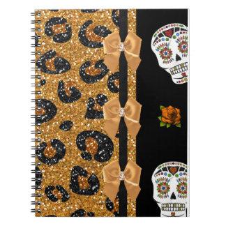 RAB Rockabilly Gold Leopard Print Sugar Skulls Spiral Note Book
