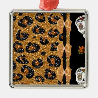 RAB Rockabilly Gold Leopard Print Sugar Skulls Square Metal Christmas Ornament