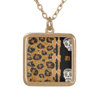RAB Rockabilly Gold Leopard Print Sugar Skulls Square Pendant Necklace