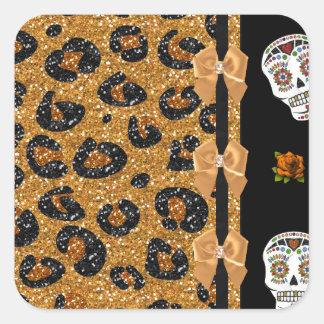 RAB Rockabilly Gold Leopard Print Sugar Skulls Square Sticker
