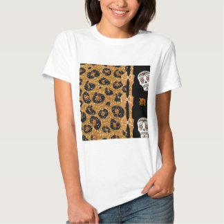 RAB Rockabilly Gold Leopard Print Sugar Skulls T-shirt