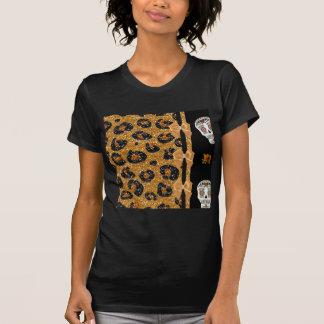 RAB Rockabilly Gold Leopard Print Sugar Skulls T Shirt