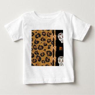 RAB Rockabilly Gold Leopard Print Sugar Skulls Tee Shirt