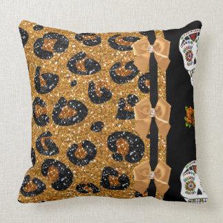 RAB Rockabilly Gold Leopard Print Sugar Skulls Throw Pillow