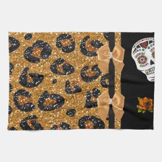 RAB Rockabilly Gold Leopard Print Sugar Skulls Towels
