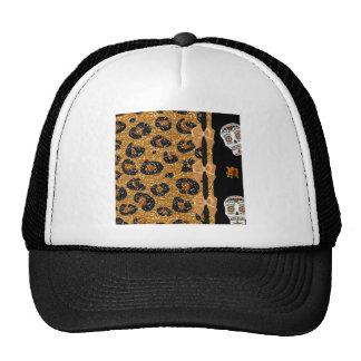 RAB Rockabilly Gold Leopard Print Sugar Skulls Trucker Hat