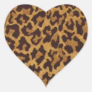 RAB Rockabilly Leopard Print Brown Gold Heart Sticker
