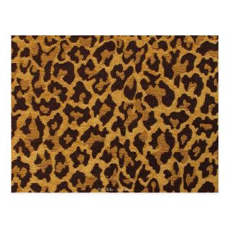 RAB Rockabilly Leopard Print Brown Gold Postcard