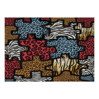 RAB Rockabilly Leopard Zebra Puzzle Print Poster