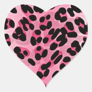 RAB Rockabilly Pink Cheetah Print Heart Sticker