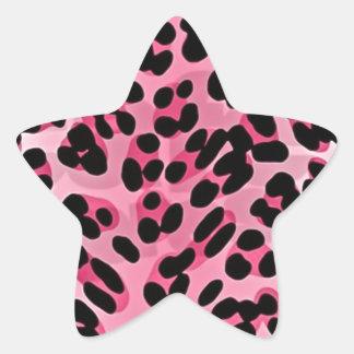 RAB Rockabilly Pink Cheetah Print Star Sticker