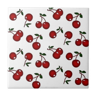 RAB Rockabilly Red Cherries on White Tile