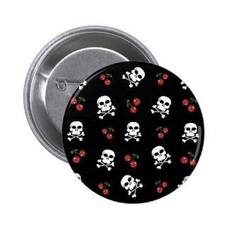 RAB Rockabilly Skulls and Cherries on Black 2 Inch Round Button