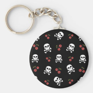 RAB Rockabilly Skulls and Cherries on Black Basic Round Button Keychain