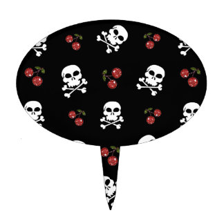 RAB Rockabilly Skulls and Cherries on Black Cake Toppers