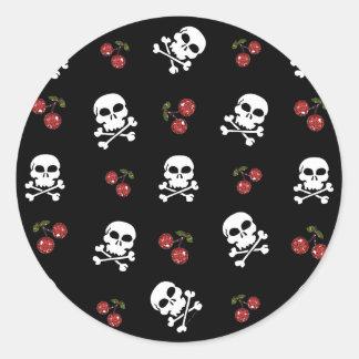 RAB Rockabilly Skulls and Cherries on Black Classic Round Sticker