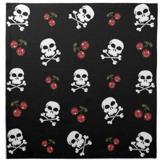 RAB Rockabilly Skulls and Cherries on Black Cloth Napkins