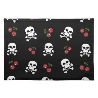 RAB Rockabilly Skulls and Cherries on Black Cloth Placemat