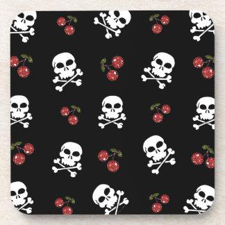 RAB Rockabilly Skulls and Cherries on Black Coasters