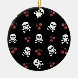RAB Rockabilly Skulls and Cherries on Black Double-Sided Ceramic Round Christmas Ornament