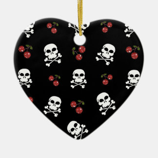 RAB Rockabilly Skulls and Cherries on Black Double-Sided Heart Ceramic Christmas Ornament