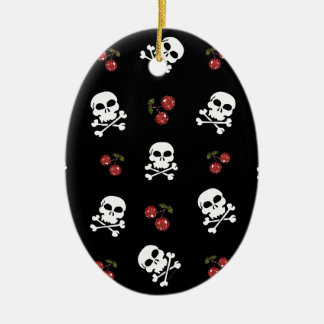 RAB Rockabilly Skulls and Cherries on Black Double-Sided Oval Ceramic Christmas Ornament