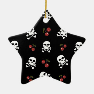 RAB Rockabilly Skulls and Cherries on Black Double-Sided Star Ceramic Christmas Ornament