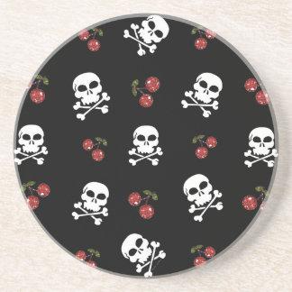 RAB Rockabilly Skulls and Cherries on Black Drink Coaster