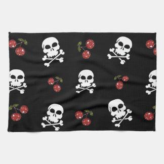 RAB Rockabilly Skulls and Cherries on Black Hand Towels
