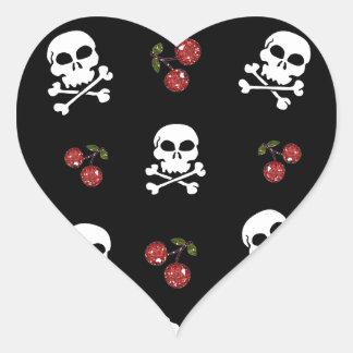 RAB Rockabilly Skulls and Cherries on Black Heart Sticker