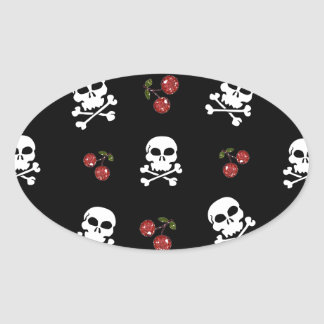 RAB Rockabilly Skulls and Cherries on Black Oval Sticker