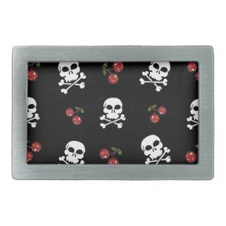 RAB Rockabilly Skulls and Cherries on Black Rectangular Belt Buckles