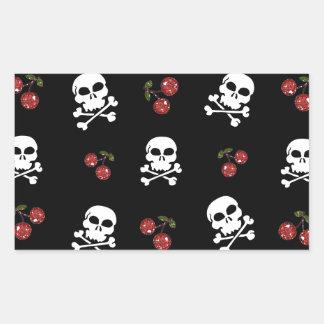 RAB Rockabilly Skulls and Cherries on Black Rectangular Sticker