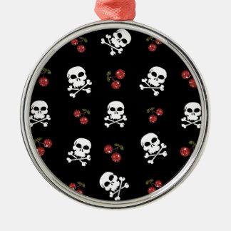 RAB Rockabilly Skulls and Cherries on Black Round Metal Christmas Ornament