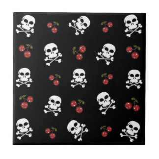RAB Rockabilly Skulls and Cherries on Black Small Square Tile